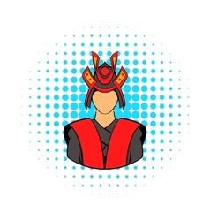 Samurai icon in comics style vector image vector image