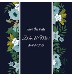 Save the date flower decoration card vector