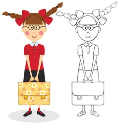 Schoolgirl with briefcase vector image