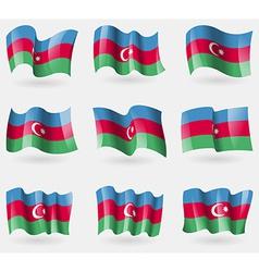 Set of azerbaijan flags in the air vector