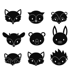 Set of cartoon woodland animals heads vector image vector image