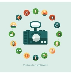Set of modern flat design travel vacation vector image vector image