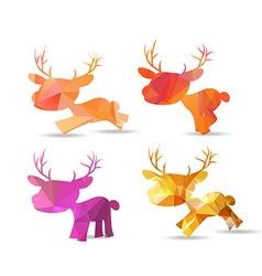 Set of polygonal reindeer christmas design vector image vector image
