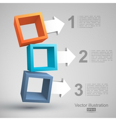 Three empty boxes with arrows 3D vector image