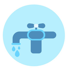 water tap icon faucet on blue background vector image