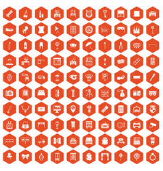 100 mirror icons hexagon orange vector
