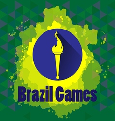 Abstract Brazil games design with burning flame lo vector image