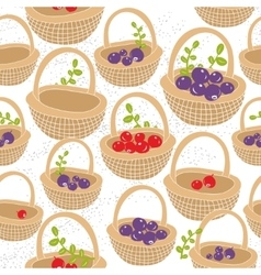 Baskets with red and purple forest berries vector