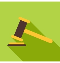 Judge gavel icon flat style vector