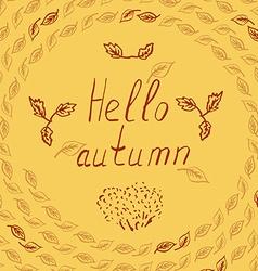 hello autumn leves sketch vector image