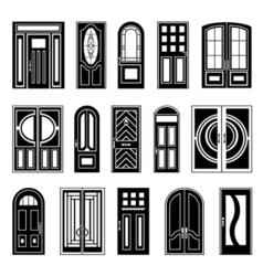 House doors black design collection vector
