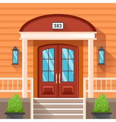 Front door of house decorated by siding vector