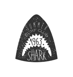 Great white shark head summer surf club black and vector