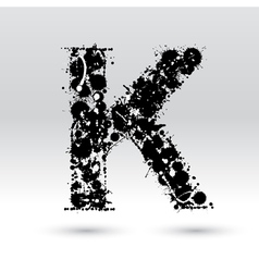 Letter k formed by inkblots vector