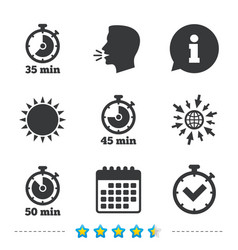 timer icons fifty minutes stopwatch symbol vector image