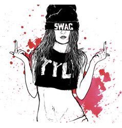 Hip hop swag girl vector