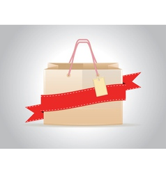Shopping bag with ribbon vector