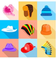 Headdress icons set flat style vector