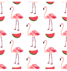 Seamless pattern with flamingos and watermelons vector