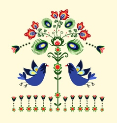 Folk Pattern With Birds vector image