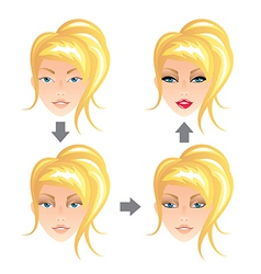 Make up stages blonde girl vector