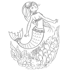 Mermaid swimming in the ocean outlined vector