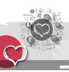 Paper and hand drawn heart emblem with icons vector