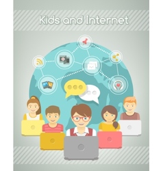 Kids social networking on the internet of group vector