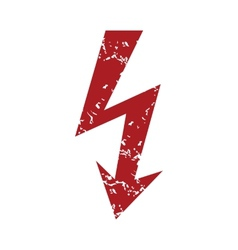 Red grunge lightning logo vector