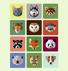 Funny animals flat icons vector