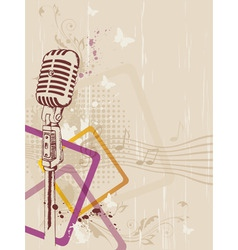 Retro music background with microphone and floral vector