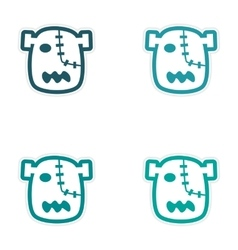 Sticker assembly head zombie on a white background vector