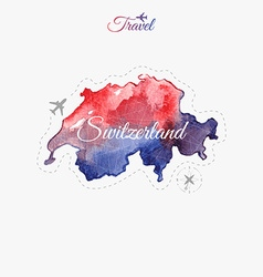 Travel around the world switzerland watercolor map vector