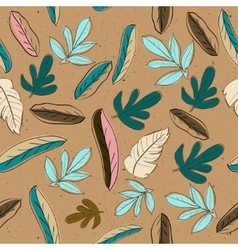 Seamless texture with pastel colors leaves vector