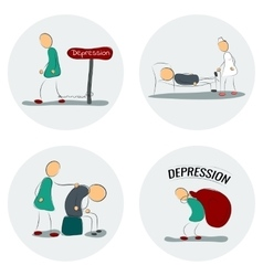 Icon set man in depression vector