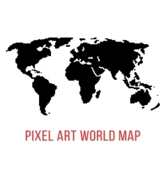 black world map in pixel art vector image