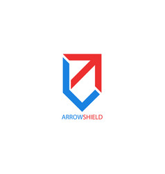 Arrow logo shield shape creative symbol growth vector