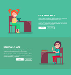 back to school template poster of pupils at desks vector image vector image