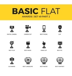 Basic set of video awards icons vector