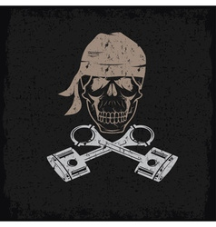biker theme grunge label with skull and pistons vector image