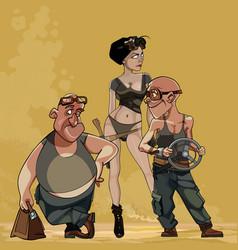 Cartoon characters postapocalypse vector