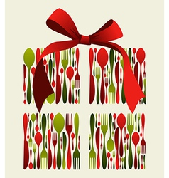 Christmas gift cutlery vector