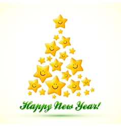 Christmas tree made from smiling yellow stars vector image