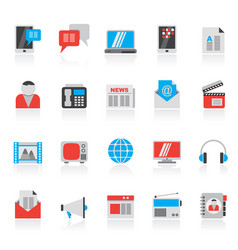 Connection communication and technology icons vector