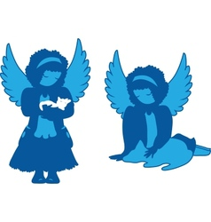 Cute angels silhouettes set vector image vector image