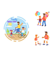 dad celebrating fathers day with children poster vector image vector image