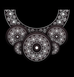 embroidery folk necklace on black vector image vector image