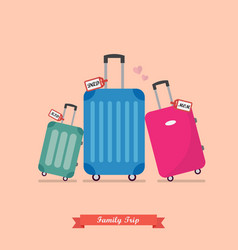 Family trip with travel luggage set vector
