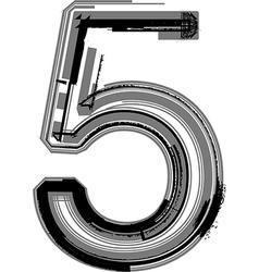 Grunge font number 5 vector