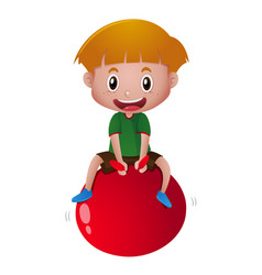 Happy boy bouncing on red ball vector